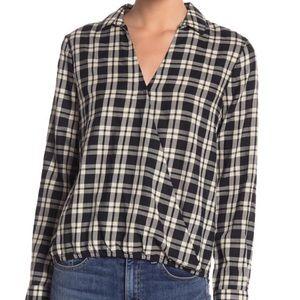 Madewell plaid gingham wrap long sleeve blouse